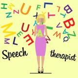 语言矫治者妇女老师 库存图片