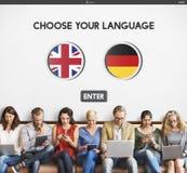 语言词典英语-德语概念 免版税库存照片