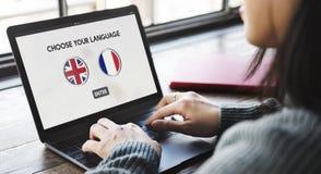 语言词典英语-法语概念 库存照片
