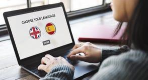 语言词典英语-西班牙语概念 库存图片