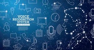 语音识别协助与霓虹象的系统概念 向量例证