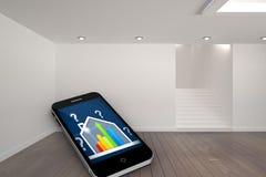 误码率在智能手机屏幕上的规定值房子的综合图象 库存例证