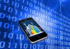误码率在智能手机屏幕上的规定值房子的综合图象 向量例证