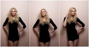 诱惑摆在室内的黑短的紧的适合礼服的可爱的性感的金发碧眼的女人 纵向肉欲的妇女 免版税库存照片