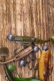 诱饵的不同的形状、颜色和重量以鱼的形式钓鱼的在被烧的木背景的谎言,在那里上面是 免版税图库摄影