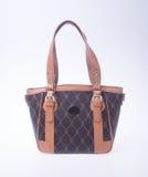 诱饵 在背景的棕色颜色时尚妇女袋子 库存照片