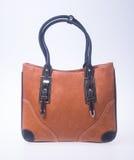 诱饵 在背景的棕色颜色时尚妇女袋子 免版税库存照片