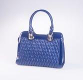 诱饵 在背景的蓝色颜色时尚妇女袋子 免版税库存照片