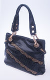 诱饵 在背景的黑颜色时尚妇女袋子 图库摄影