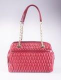 诱饵 红颜色时尚在背景的妇女袋子 免版税库存照片