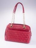 诱饵 红颜色时尚在背景的妇女袋子 库存图片