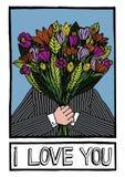 说一个的人的例证拿着在他的面孔前面的花和我爱你 库存例证