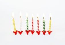 说明的灼烧的生日蜡烛 图库摄影