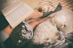 说谎在与狗的床上的妇女 免版税库存照片