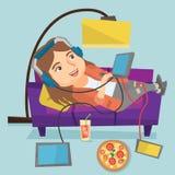 说谎在有小配件的沙发的白种人肥胖妇女 向量例证