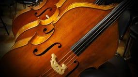 说谎在椅子的低音提琴 库存图片