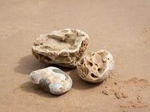 说谎在沙子海滩的三块小石头 库存图片