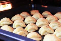 说谎在烤箱的烤板的许多自创曲奇饼 免版税库存图片