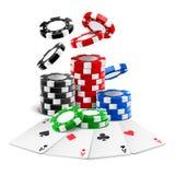 说谎在现实赌博娱乐场附近的一点切削,卡片 免版税库存图片
