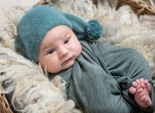 说谎在篮子的灰色套的新出生的男孩 库存照片