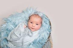 说谎在篮子,顶视图的新出生的婴孩 库存照片