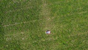 说谎在草的愉快的年轻夫妇在草甸 照相机慢慢地飞行远离他们 下来空中上面 4K 股票视频