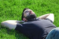 说谎在草的男性 库存图片