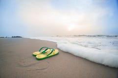 说谎在pondicherry的海滩的五颜六色的触发器与波浪sur 库存照片