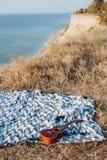 说谎的尤克里里琴和的太阳镜删去在岩石海岸 图库摄影