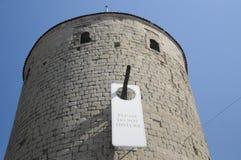 请不干扰/Chateau De Yverdon列斯Bains 库存照片