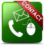 请与电话、电子邮件和老鼠象绿色正方形按钮联系 图库摄影