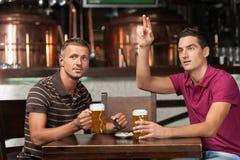 请另外一啤酒!喝啤酒的两个朋友在客栈,当时 免版税库存照片