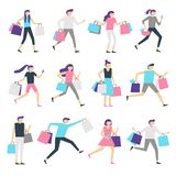 请求人购物 Shopaholic男人和激动的妇女运载的袋子 在销售传染媒介中的愉快的人购买礼物 库存例证