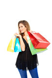 请求可爱的购物妇女 免版税库存图片
