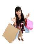 请求可爱的购物顶视图妇女 库存图片