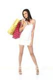 请求女孩现代购物 免版税图库摄影
