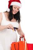 请求怀孕的购物妇女 免版税库存图片