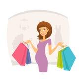 请求愉快的怀孕的购物妇女 免版税库存图片