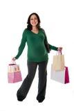 请求愉快的购物妇女 免版税库存图片