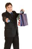 请求生意人产生购物的看板卡赊帐 图库摄影