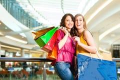 请求购物的购物中心二名妇女 库存图片