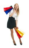 请求beautilful运载的购物妇女年轻人 免版税库存照片