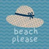 请海滩夏天帽子印刷品海报 库存图片