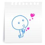 请爱您cartoon_on纸笔记 向量例证