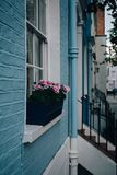 诺丁山,伦敦,英国五颜六色的露台的房子  库存图片