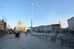 诺丁汉市中心在英国-欧洲 免版税库存照片