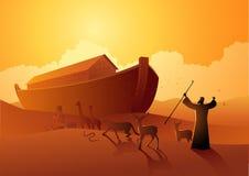 诺亚和平底船在伟大的洪水前 向量例证