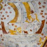 诺亚和他的妻子壁画平底船的 免版税库存图片