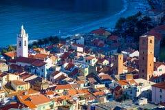 诺利,萨沃纳,意大利海村庄看法  免版税库存图片