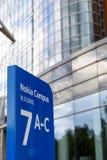 诺基亚在一个蓝色标志的名牌2017年9月16日 库存照片